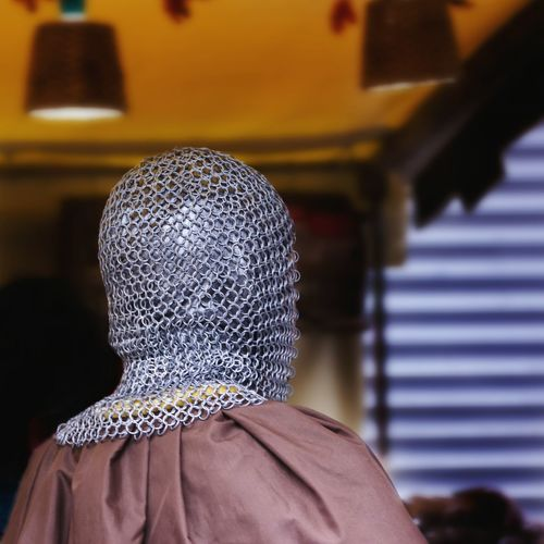 Rear view of knight in suit of armor