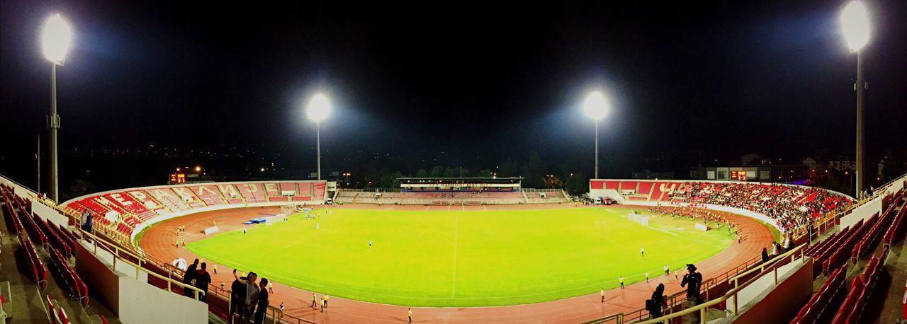 Football Soccer Stadium Niš Gametime Lights Footballfield Panorama
