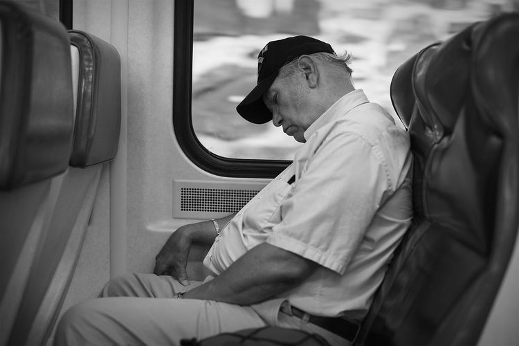 Blackandwhite Close-up Indoors  Manhattan New York Portrait Real People Sitting Sleeping Streetphotography Vehicle Interior Urban Lifestyle