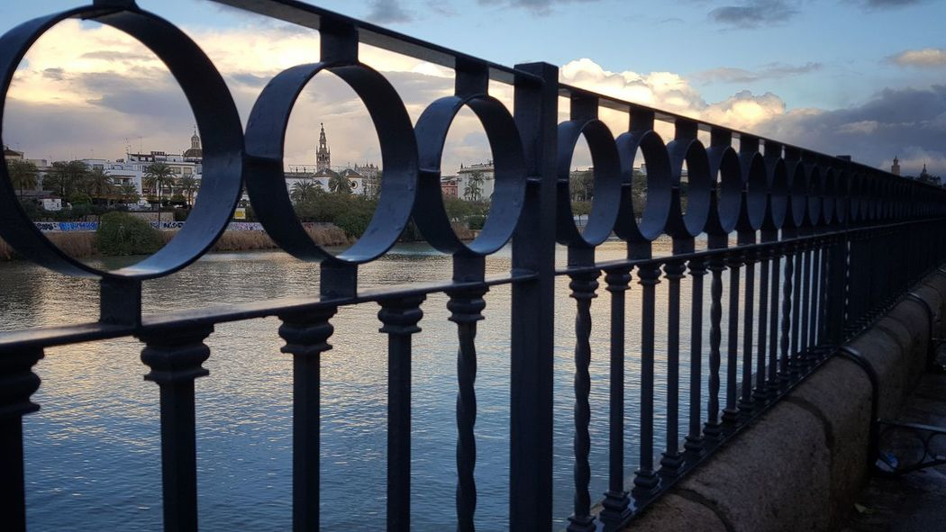 Sky Sunlight Sea Water Railing Outdoors Shadow Day Bridge - Man Made Structure Cloud - Sky No People Horizon Over Water Sevilla River Triana Giralda Guadalquivir