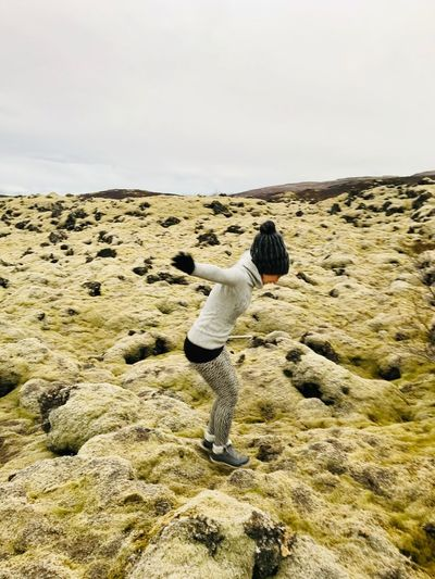 Elastic field 🍃 My Best Photo Iceland Lava Field Sky Nature Land Day Beauty In Nature Beach Tranquility Real People Rear View Outdoors Tranquil Scene My Best Photo My Best Photo