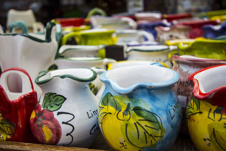 Bye Colorful Colors For Sale Glass - Material Italy Lago Di Garda LakeGarda Limone Market No People Pots Variation