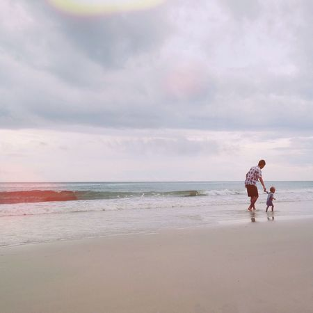 Sea Togetherness Sky Real People Full Length Beach Cloud - Sky Love Water Nature Men Lifestyles Family With One Child Leisure Activity Father Bonding Beauty In Nature Walking Sand Farthers Day Happiness Dad Dad And Son
