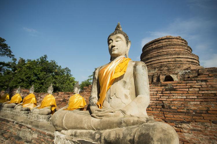 Statues Of Buddha In Wat Yai Chai Mongkhon Temple
