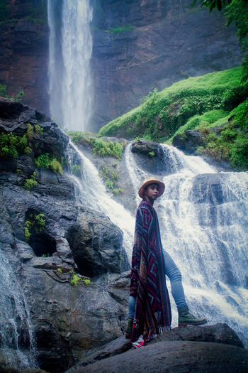 This photo was taken near to the waterfall. it was so hard to be captured because  it kept us wet.