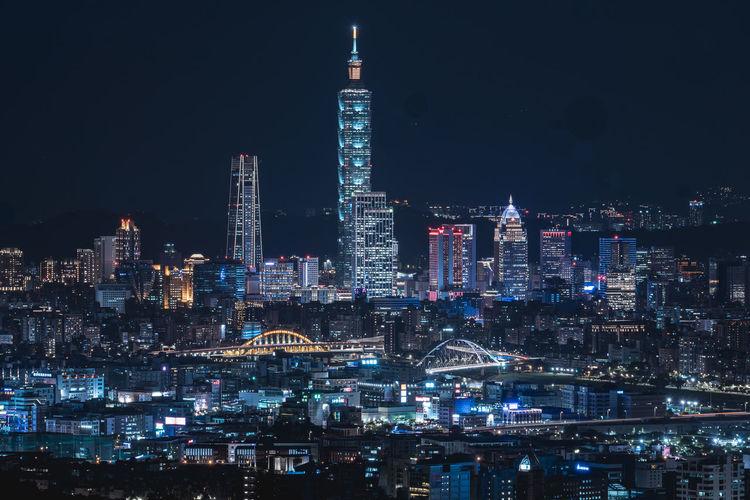 Beautiful night of taipei city