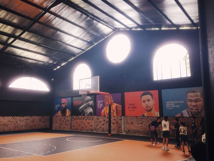 wall full of motivations. Basketballcourt Indoors  Mix Yourself A Good Time