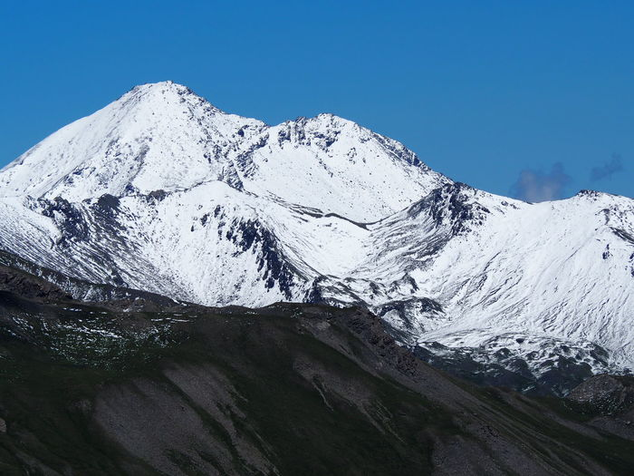 Yesterday's hike in Queyras (France). The day before (July the 15th), there was snowing a lot on border mountains with Italy. Bric Froid, view from Mount Agrenier. Mountain Beauty In Nature Snowcapped Mountain Mountain Range Clear Sky Landscape Mountain Peak Environment