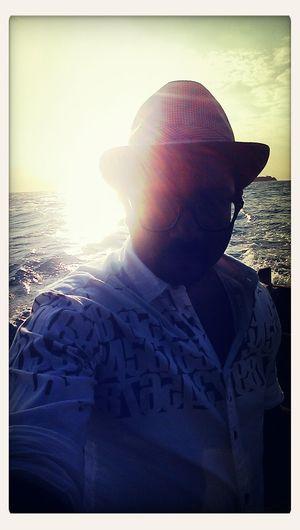 Selfie Against The Sun Boat Enjoying Life