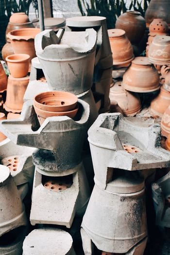 Close-Up Of Pots