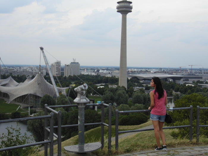 Blank Space City Background Germany Girl Alone High Point Looking Looking To The Other Side Looking To The Sky Munich Pink Shirt Sky TCPM