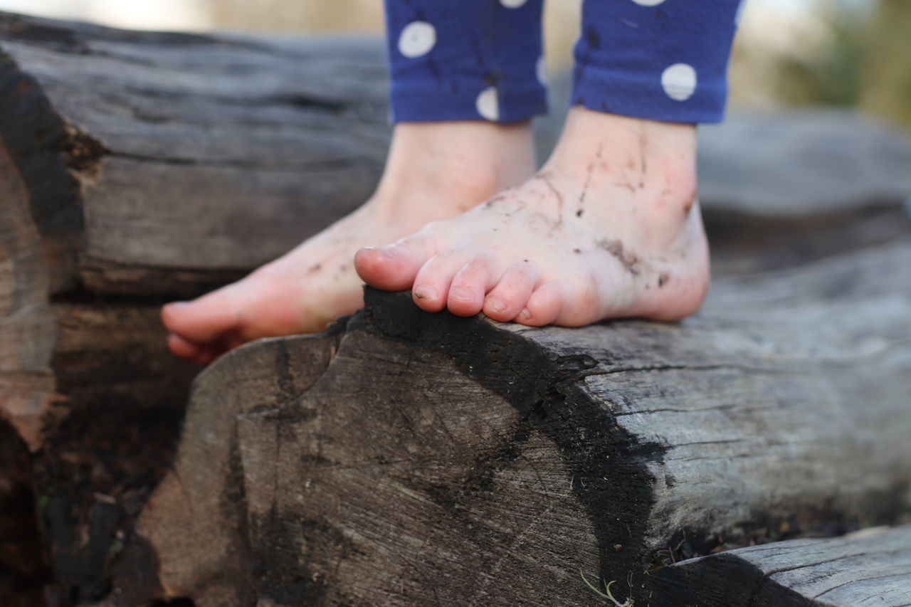 LOW SECTION OF CHILD STANDING ON LOG
