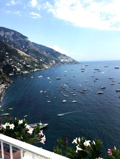 Water Sea Sky Boat Blue Cloud Nature Apointofview Summer Italia Italy Landscape Paradise View Positano Positano Italy Travel Destinations Clear Sky