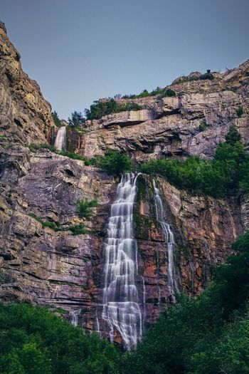 Falls Water Waterfall Motion Long Exposure Mountain Sky Landscape Flowing Flowing Water Falling Water Natural Landmark