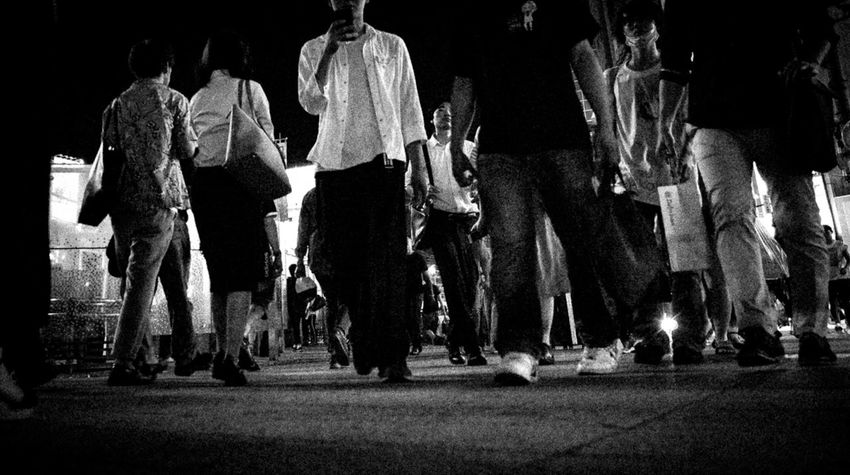 Peaple Photography City Night Photography Warking Around Low Angle View Traffic Jam Monochrome Nightphotography City Foot Crosswalk Coordination Audience Crowd Arts Culture And Entertainment Popular Music Concert Women Full Length Men Performance
