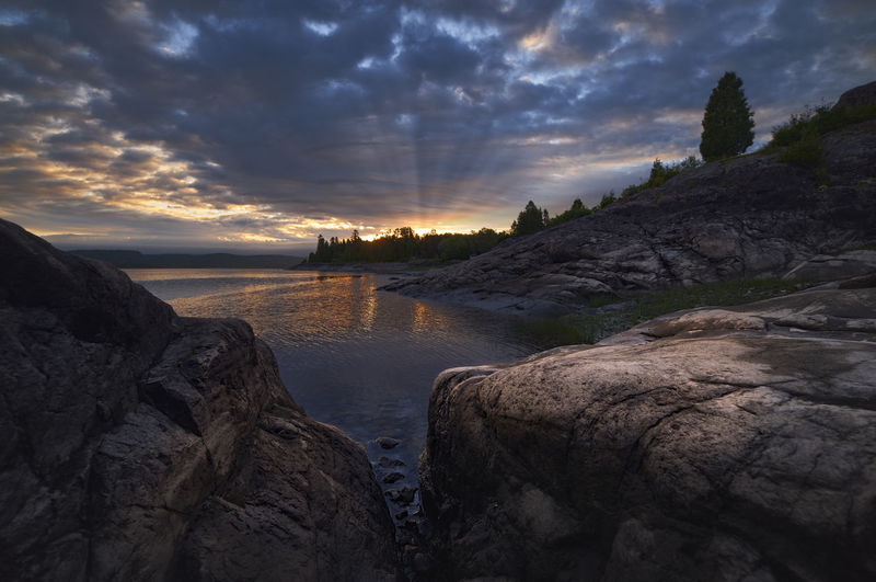 First light Calm Morning Morning Light Morning Sky Quebec Reflection Rock Tree Blue Canada Landscape No People River Sun Sunrise Water