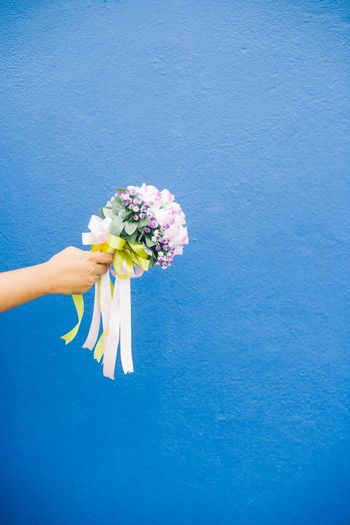 Midsection of man holding flower against blue background