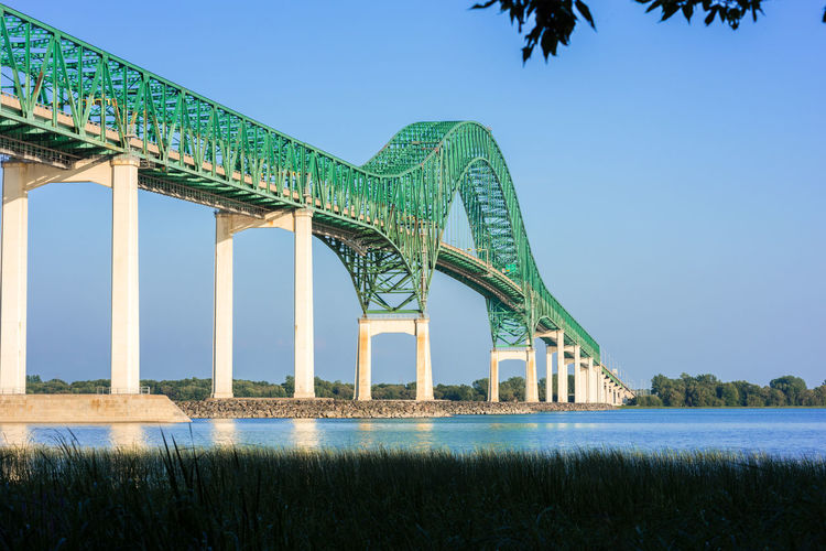 Low angle view of bridge over calm river against sky