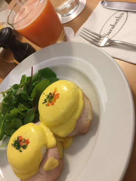 サラベス Sarabeth's Japan 梅田 Food And Drink Plate Freshness Indoors  Food Table No People Healthy Eating Fork Breakfast Close-up Ready-to-eat Day エッグベネディクト Eggs Benedict Breakfast