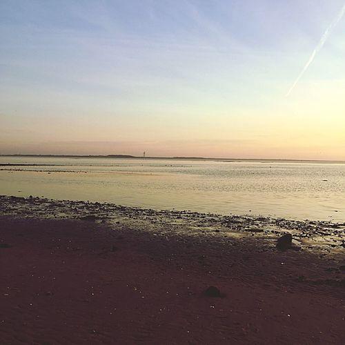 Esbjerg Sea Danmark Evening Skies Beach Sunny Day Hot Weather