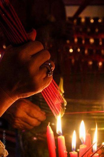 burned 'hio' for praying Chinese Culture Capgomeh Praying Time