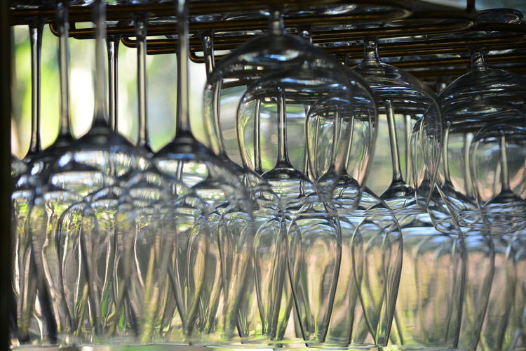 Close-up of glass hanging