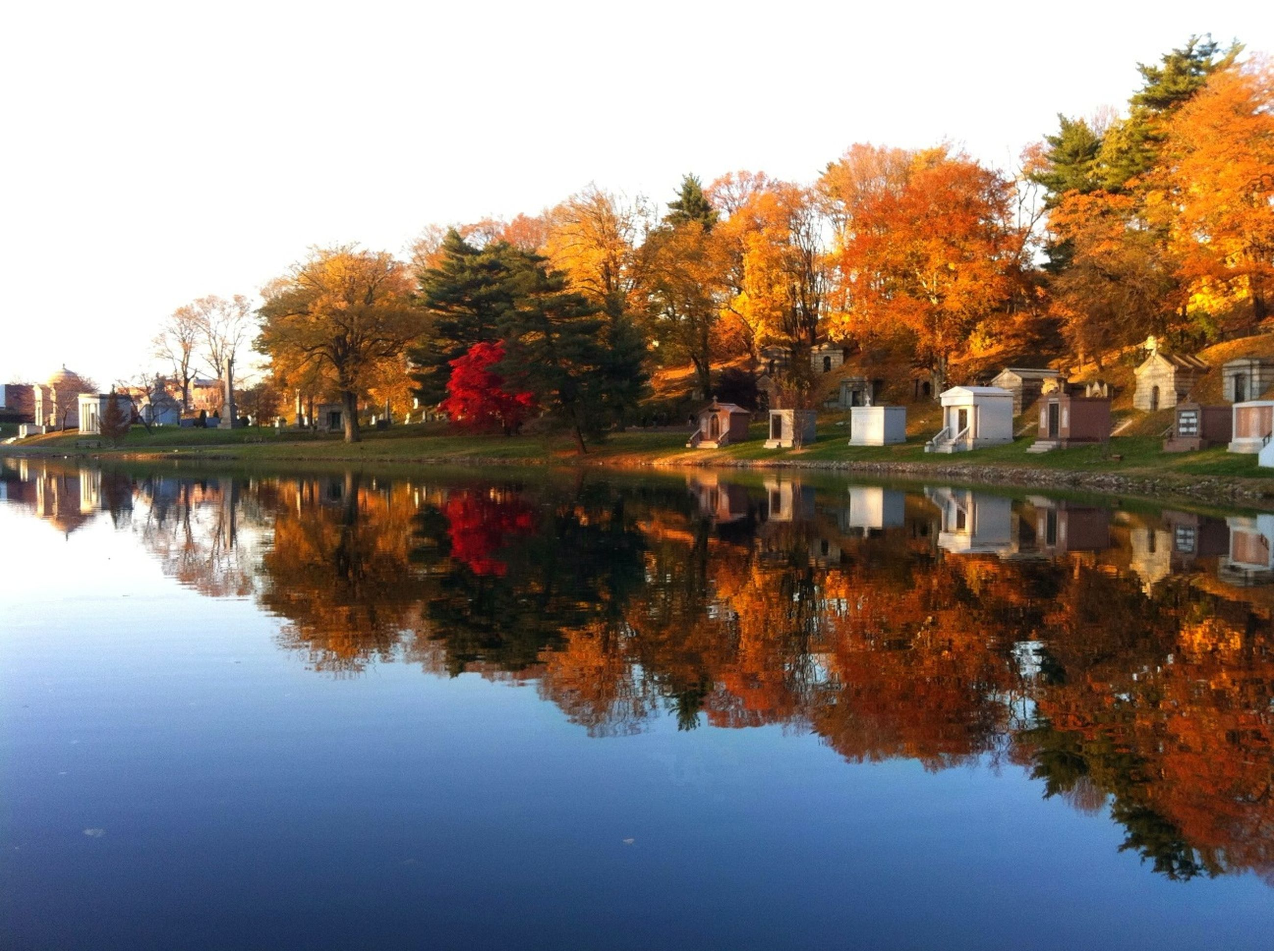 autumn, tree, change, water, reflection, lake, season, waterfront, clear sky, tranquility, beauty in nature, tranquil scene, nature, orange color, scenics, built structure, building exterior, growth, standing water, river