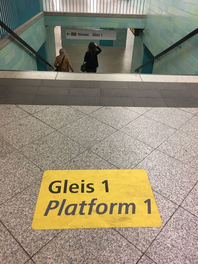 Gleis 1 Stairs Built Structure Bvg Flooring Information Information Sign Platform Sign Subway Subway Station Text Western Script Yellow