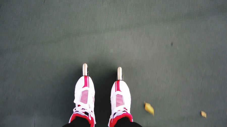 Get On Your Feet Shoe Personal Perspective Low Section Human Body Part Body Part Human Leg This Is Aging High Angle View Sport Real People Lifestyles Leisure Activity Standing Human Limb Human Foot Unrecognizable Person Pink Color Day Women One Person