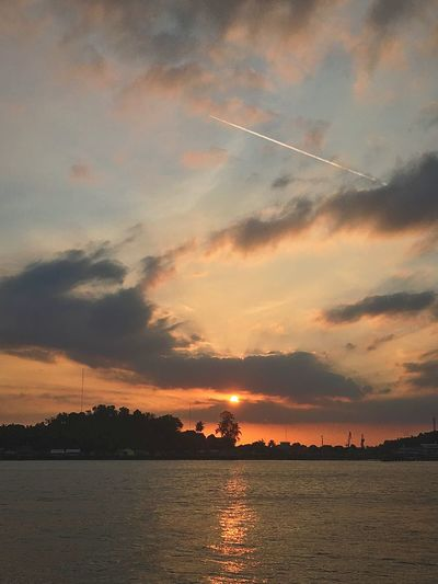 Today sunset Sambu Sky Sunset Cloud - Sky Water Beauty In Nature Scenics - Nature Tranquility Tranquil Scene Orange Color Sea Silhouette Outdoors Non-urban Scene Nature Idyllic Waterfront No People Dramatic Sky Tree Romantic Sky