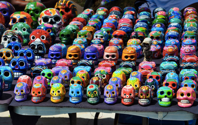 High Angle View Of Colorful Skulls For Sale In Market