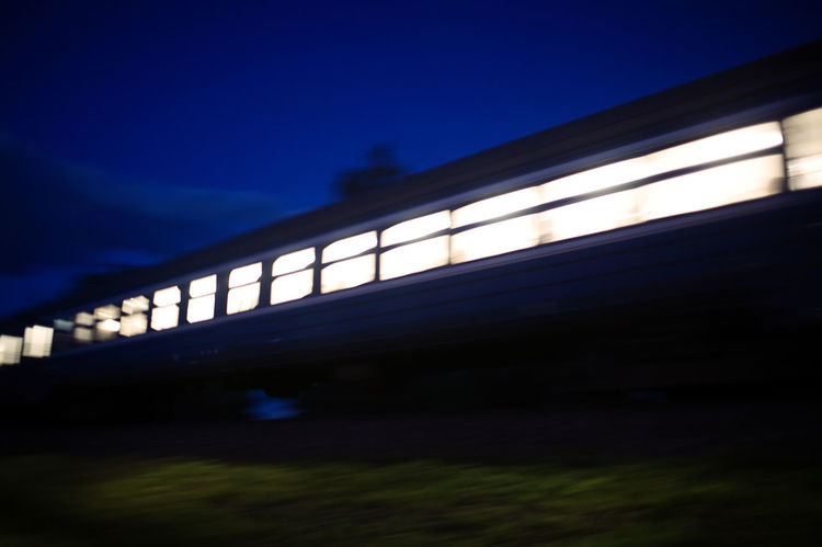 Blue Blurred Commuting Fast Modern Motion Night Rail Transport Rail Transportation Sky Speed Train Transportation Travel