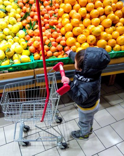Shopping Cart Fruit Food And Drink Supermarket Baby Shopping Choosing Standing Store Customer  Baby Costumer