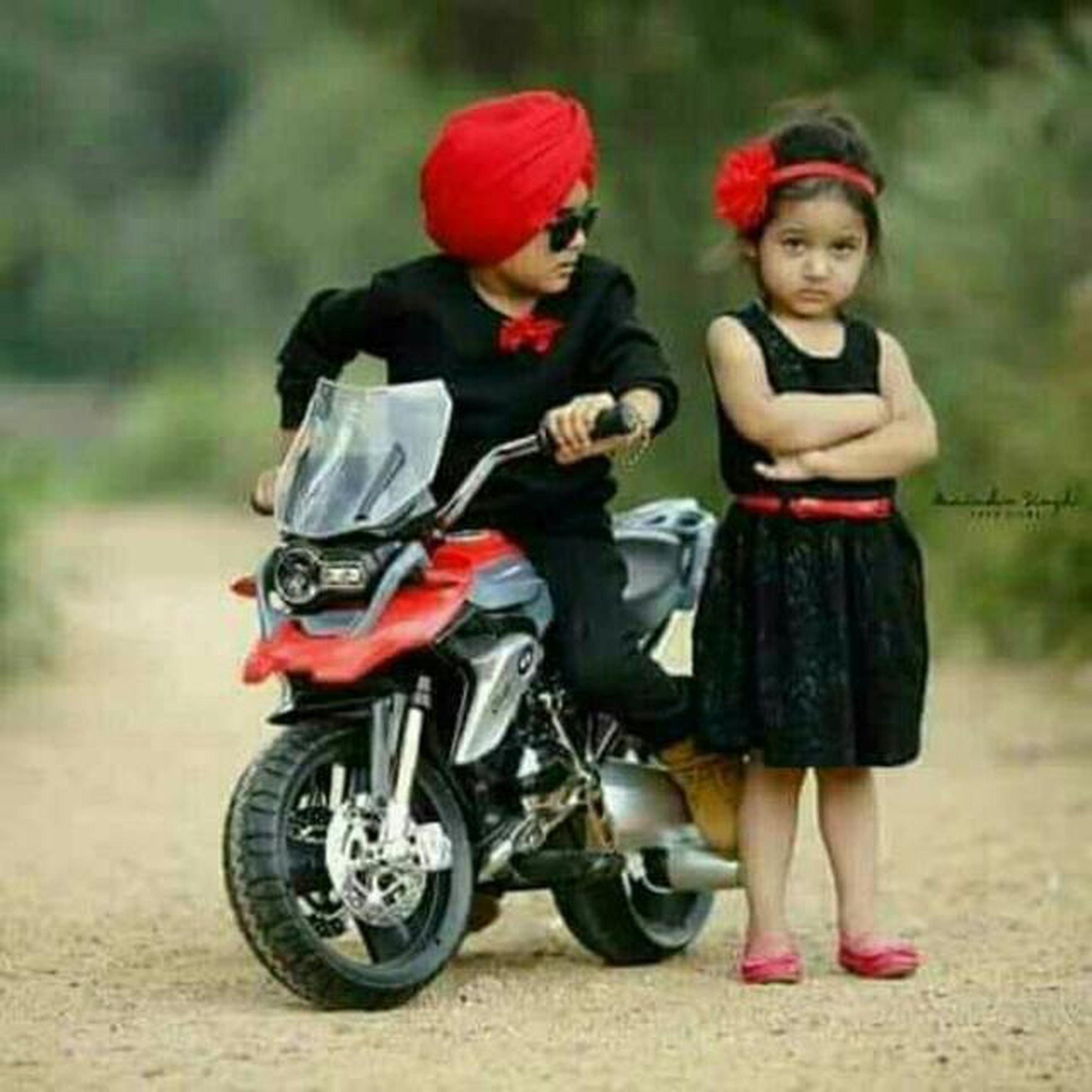 two people, full length, child, childhood, outdoors, motorcycle, males, people, happiness, togetherness, day, friendship, headwear, smiling, helmet, adult