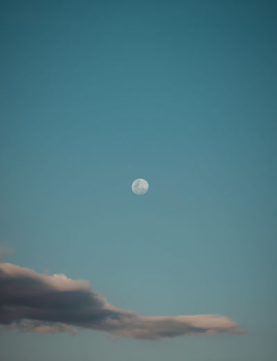 moon Sky Moon Beauty In Nature Low Angle View Tranquil Scene Nature Tranquility Scenics - Nature Astronomy Cloud - Sky Space Blue Copy Space No People Night Dusk Outdoors Idyllic Planetary Moon Full Moon