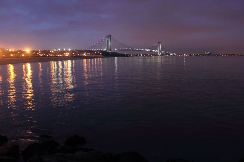 Architecture Beauty In Nature Bridge - Man Made Structure Built Structure City Cityscape Connection Engineering Illuminated Nature New York Harbor Night No People Outdoors Scenics Sea Sky Suspension Bridge Tourism Tranquility Transportation Travel Travel Destinations Water Waterfront