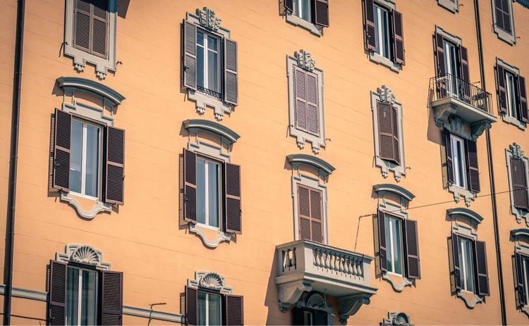 Window Low Angle View Architecture Building Exterior Residential Building Balcony Façade Apartment Pastel Colored No People Built Structure City Day Outdoors Photograph Low