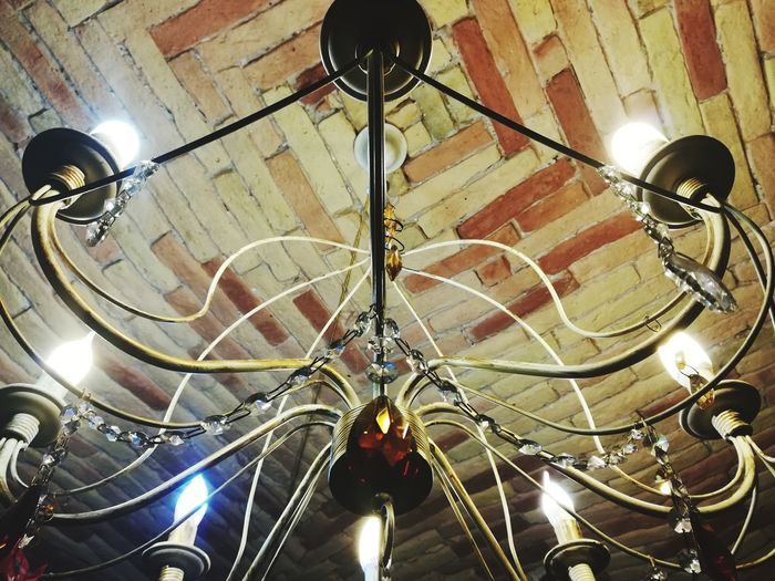 Rustic Environment Chandelier With Crystals Cristals Classic Chandelier Light Lamp Ceiling To Carriage Sky Vaulted Ceiling Ancient Architecture Wall Bricks Old Bricks Indoors  Low Angle View Ceiling No People Illuminated Day Close-up