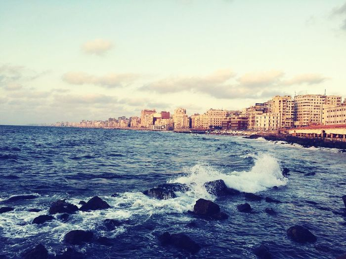Alexandria Egypt EyeEm Selects Outdoors Cloud - Sky Landscape Sea Sky Beach No People Water Sunset Travel Destinations Day Urban Skyline Nature Scenics Cityscape City Beauty In Nature Horizon Over Water Wave