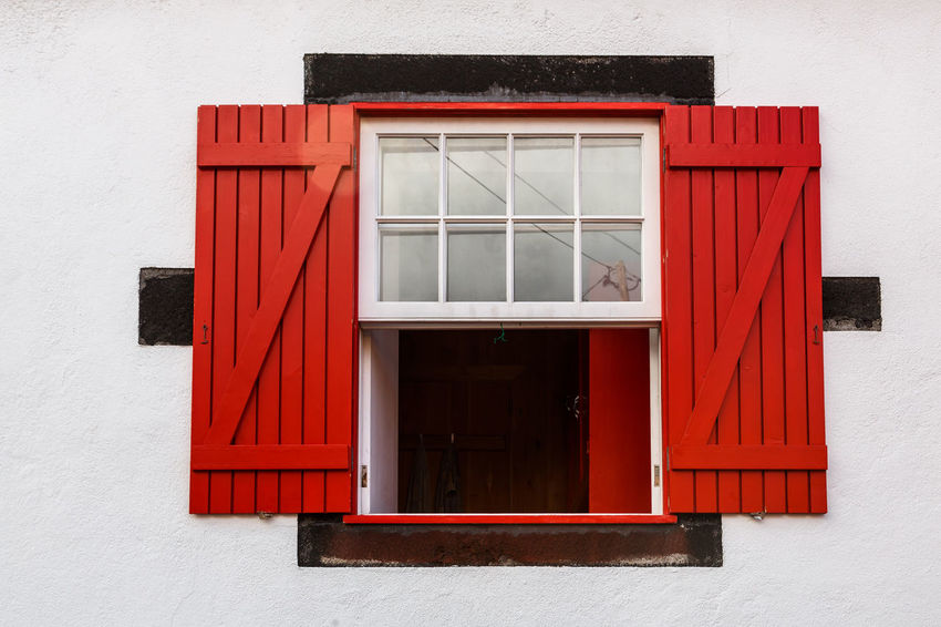 Azores Pico Island Architecture Basaltic Rock Building Building Exterior Built Structure Closed Day Door Entrance Glass - Material House Nature No People Outdoors Red Residential District Security Tipical House Wall - Building Feature White Color Window Window Frame Wood - Material