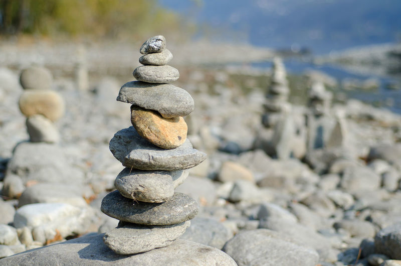 Stones in Stack Balance Beach Close-up Day Focus On Foreground Large Group Of Objects Nature No People Outdoors Pebble Rock - Object Sea Sky Stack Stone Water
