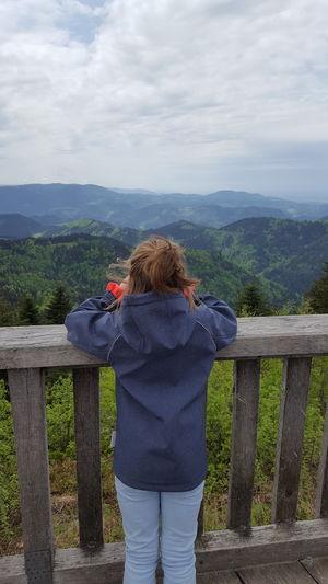 Child Young Women Warm Clothing Standing Mountain Rear View Women Sky Cloud - Sky Casual Clothing