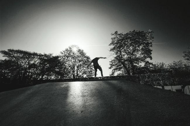 Kick and push One Person Silhouette Outdoors Skateboarding Skatepark Skateeverydamnday Skateboard Eyemphotography Eyem Best Shots - Black + White EyemEm Vision Eyem