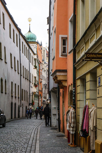Regensburg, Germany narrow cobbled stoned streets Alley Architecture Building Building Exterior Built Structure City City City Life City Street Cobblestone Day Diminishing Perspective Façade Germany Outdoors Regensburg Residential Building Residential Structure Sky Streets The Way Forward Town Townhouse
