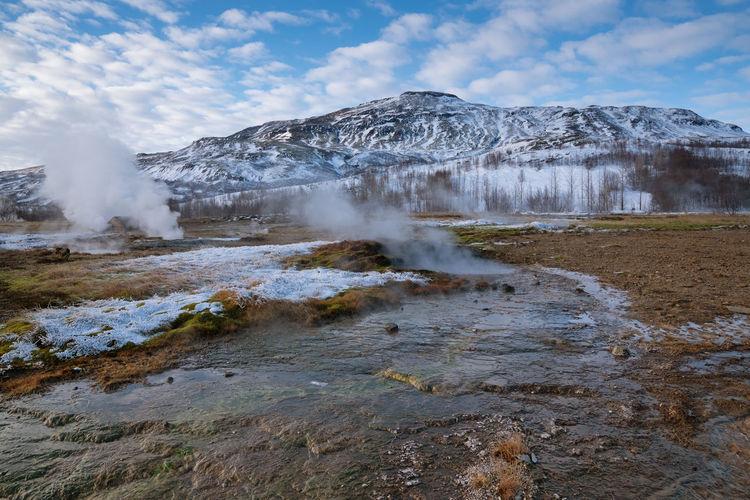 Geothermal area haukadalur, iceland, europe