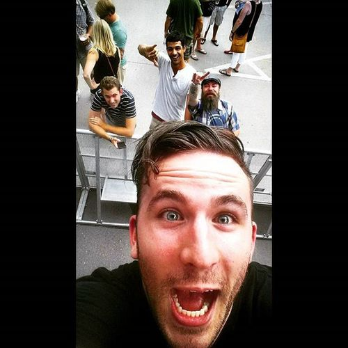 "I told him, ""Take a Selfie !"" WireDogs Leadsinger DanAid Rockshow  NewWestFest TooTiredToTellTheNeverEndingStory"