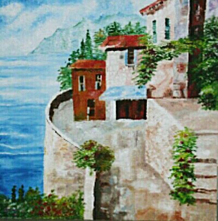 Building Exterior Architecture Tree Old-fashioned Built Structure No People Outdoors Sea Cloud - Sky Day EyeEmNewHere Painting Artwork Painters Painting On The Wall Oilpaintingoncanvas Oilpainting Landscape LANDSCAPEPAINTING EyeEmNewHere