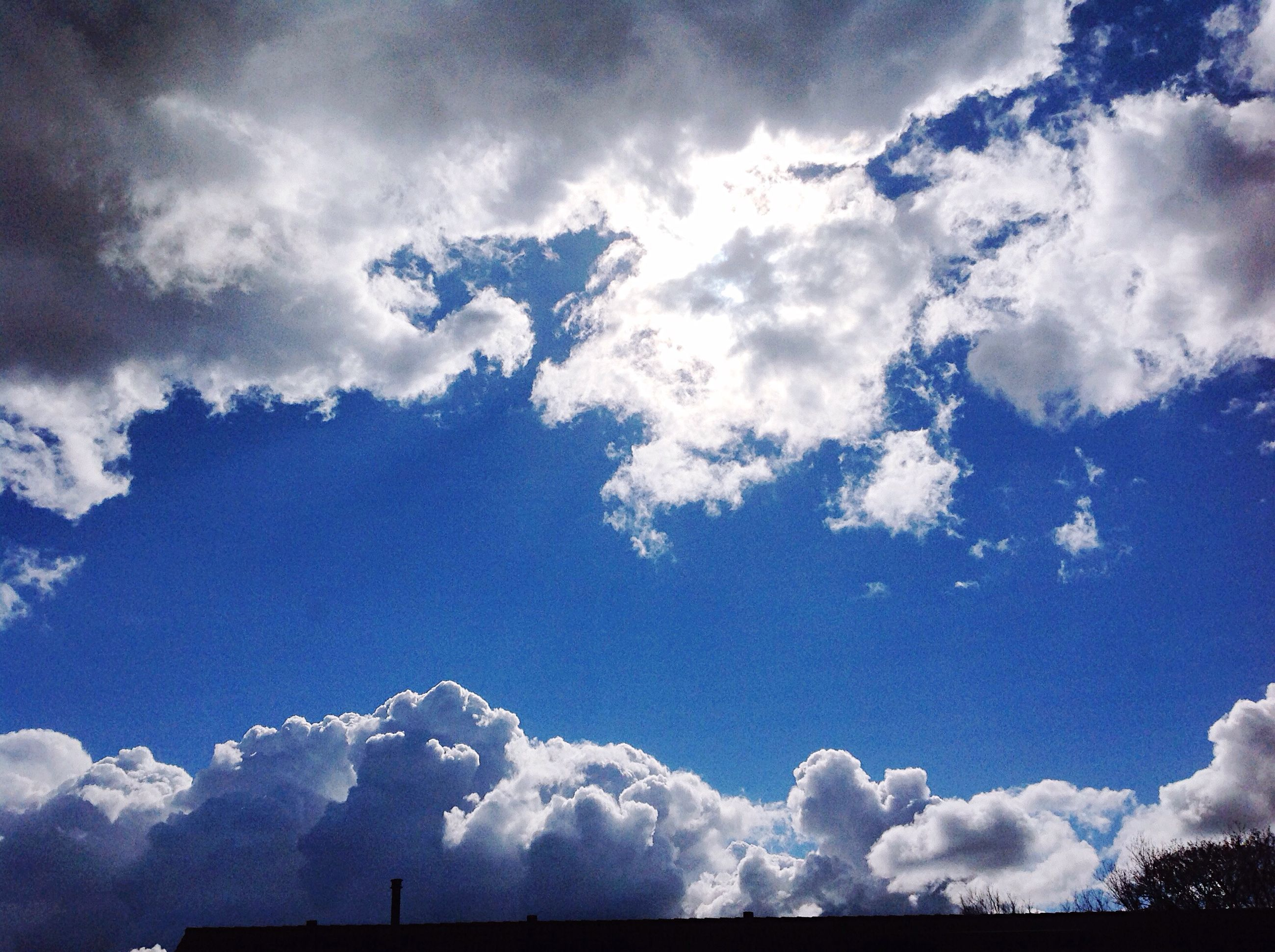 sky, low angle view, cloud - sky, cloudy, beauty in nature, blue, tranquility, cloud, nature, scenics, tranquil scene, cloudscape, weather, day, tree, outdoors, idyllic, no people, white color, overcast