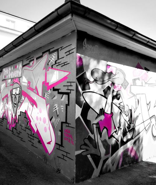Building Exterior Creativity Built Structure Art And Craft No People Pink Color Street Art Outdoors