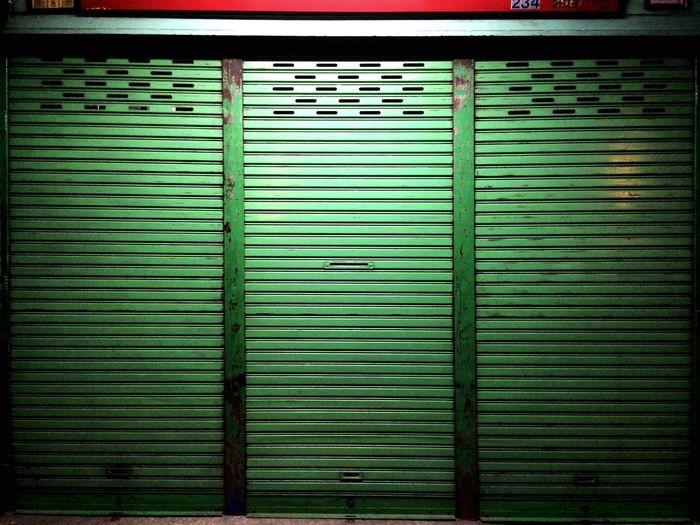 View of green shutter